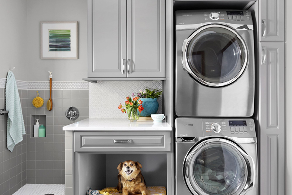 Grey Laundry Room Design with Pet Bath
